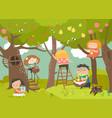 happy children harvesting vector image