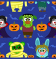 seamless with animal in halloween costume vector image