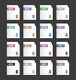 file extensions icons set pdf mp3 txt doc docx jpg vector image