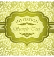 Green vintage invitation with antique floral vector image