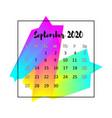 2020 calendar design abstract concept september vector image vector image