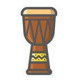 african djembe drum filled outline icon music vector image vector image