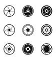 aperture of photocamera icons set simple style