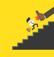 big foot kicking cute businessman fall from vector image