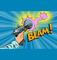 blam science fiction shot of a blaster comic cloud vector image