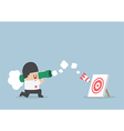 Businessman use bazooka rocket launcher destroy th vector image vector image