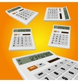 Calculator on an orange background vector image