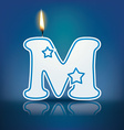 Candle letter M with flame vector image
