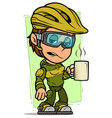 cartoon cyclist girl character with cup coffee vector image
