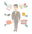 caucasian businessman having lots of work to do vector image vector image