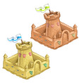 childrens sand castle tower of the fort with flag vector image vector image