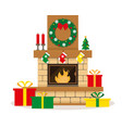 christmas fireplace with decoration vector image vector image