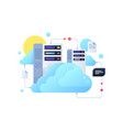 computer system using for cloud servers with sun vector image vector image