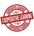 cooperative learning round red grunge stamp vector image vector image