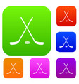 crossed hockey sticks and puck set collection vector image vector image