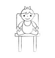 cute girl baby sitting on chair avatar character vector image