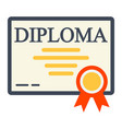 diploma flat icon education and certificate vector image vector image