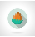 Flat color fir cone round icon vector image vector image
