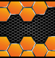 Geometric pattern of hexagons with metal plates vector image vector image