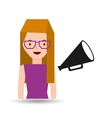 girl cartoon and megaphone icon cinema graphic vector image