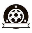 gray scale emblem with soccer ball and ribbon vector image vector image