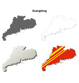 Guangdong blank outline map set vector image vector image