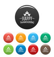 happy thanksgiving icons set color vector image vector image