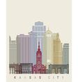 Kansas City skyline poster vector image vector image