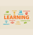 learning concept with icons vector image vector image