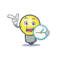 light bulb character cartoon with clock vector image vector image