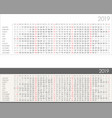 linear calendar for 2019 year vector image