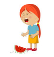 little girl crying dropped slice of watermelon vector image