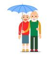 old couple under umbrella an elderly man stands vector image