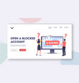 open blocked account landing page template tiny vector image vector image