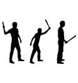 people silhouettes hitting with bat
