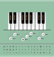 piano keys timeline with set of icons vector image vector image