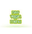 raw vegan menu word text logo icon typography vector image vector image