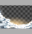 realistic clouds with glowing from sun vector image vector image