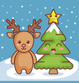 reindeer with pine christmas character icon vector image