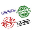 scratched textured sao paulo stamp seals vector image