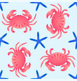 seamless sea theme pattern crabs and sea stars on vector image vector image