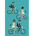 Set of a Couple on a Bike vector image