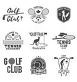 set of golf club tennis club concept vector image vector image