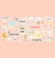 set with cute stickers for daily planner and vector image