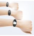 Smart watch on hand vector image
