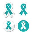 Teal ribbon - ovarian cervical uterine cancer vector image
