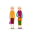 two old woman two senior elder women with vector image