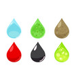 various droplets clean dirty water blood toxic vector image