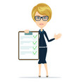 woman with the clipboard questionnaire vector image vector image
