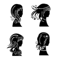Set of women with beauty hair vector image